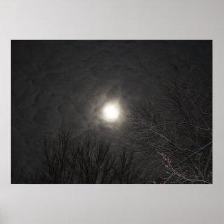 Eerie Moon In Clouds Poster