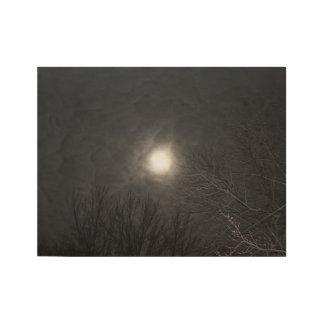 Eerie Moon In Clouds Wood Poster