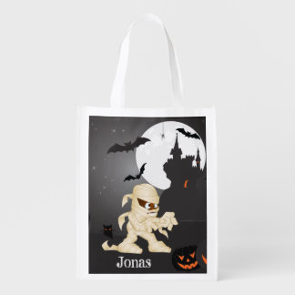 Eerie Night Halloween Scene with Your Name Reusable Grocery Bag