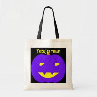 Eerie Purple Jack-o'-Lantern Tote Bags