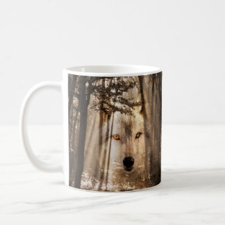 Eerie wolf face in the woods coffee mug