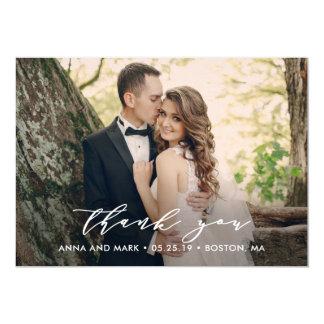 Effortless Script Wedding Thank You Photo Card