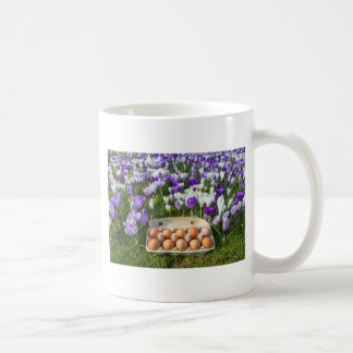 Egg box with chicken eggs in crocuses coffee mug