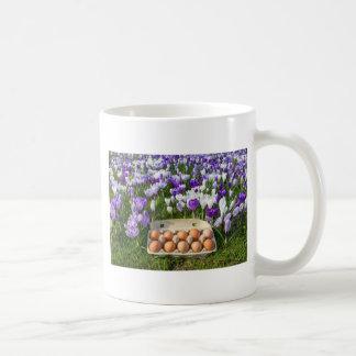 Egg box with chicken eggs in crocuses coffee mug