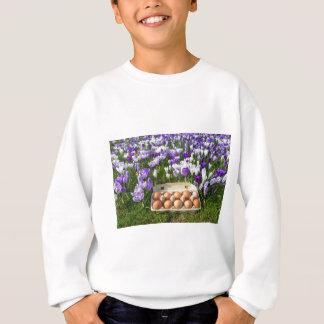 Egg box with chicken eggs in crocuses sweatshirt