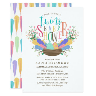 Egg & Colorful Feathers Twins Baby Shower Card