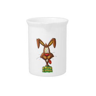 egg mad easter bunny funny cartoon drawing pitcher
