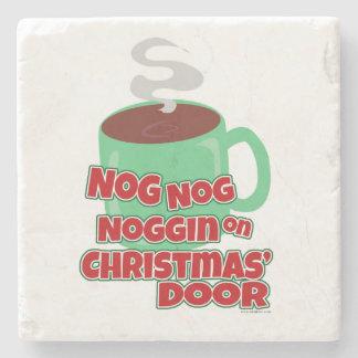 Egg Noggin on Christmas Door Stone Coaster