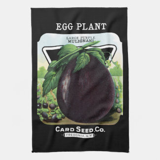 Egg Plant Seed Packet Label Tea Towel