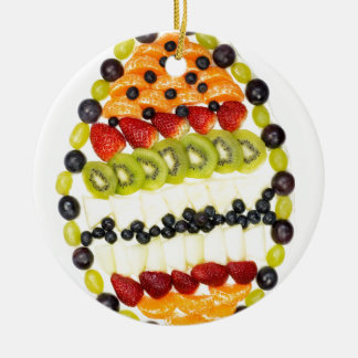 Egg shaped fruit pie with various fruits ceramic ornament