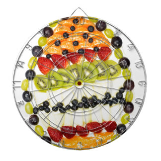Egg shaped fruit pie with various fruits dart boards