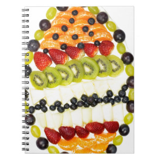 Egg shaped fruit pie with various fruits notebook