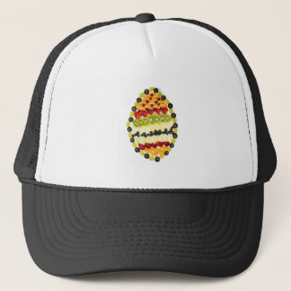 Egg shaped fruit pie with various fruits trucker hat
