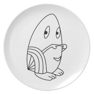 Egg-shaped kawaii cute cartoon character plates