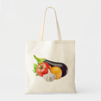 Eggplant and other vegetables budget tote bag