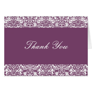 Eggplant and White Damask Thank You Note Card