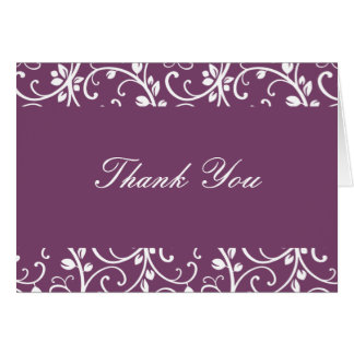 Eggplant and White Floral Vine Thank You Note Card