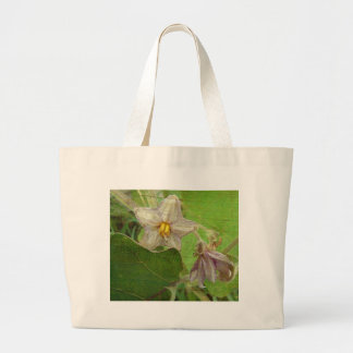 Eggplant Flowers Large Tote Bag
