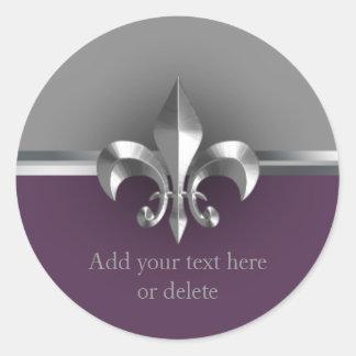 Eggplant Gray Metal Style Silver Fleur de Lis Classic Round Sticker