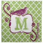 Eggplant & Lime Monogram Vintage Bird Moroccan Cloth Napkin