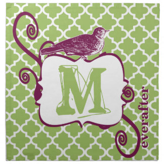 Eggplant & Lime Monogram Vintage Bird Moroccan Napkin