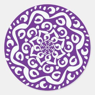 Eggplant Mandala Round Sticker
