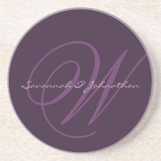 Eggplant Monogram Wedding Anniversary Coasters