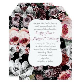 Eggplant Purple and Pink Heritage Rose Wedding 13 Cm X 18 Cm Invitation Card