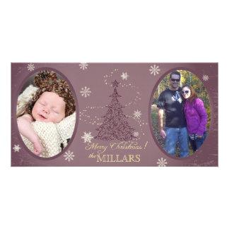 Eggplant Purple Christmas Tree Photo Card