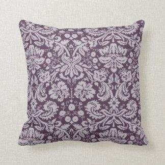 Eggplant Purple Damask Cushion