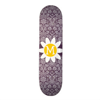 Eggplant Purple Damask; Daisy Skate Board Deck