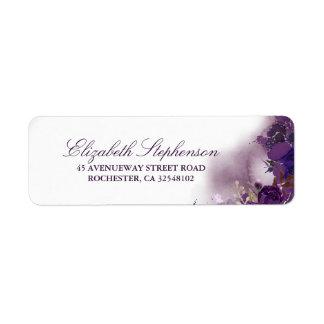 Eggplant Purple Floral Watercolor Return Address Label