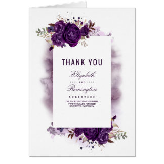 Eggplant Purple Floral Wedding Thank You Card