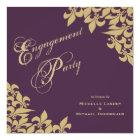 Eggplant Purple Gold Fleur de Lis Engagement Party Card