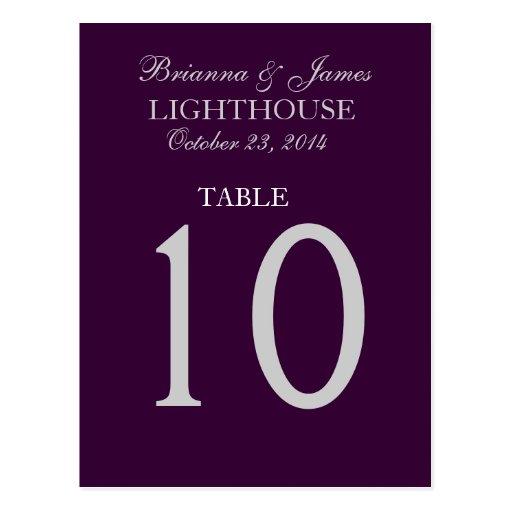 Eggplant Purple & Silver Wedding Table Number Card Postcards