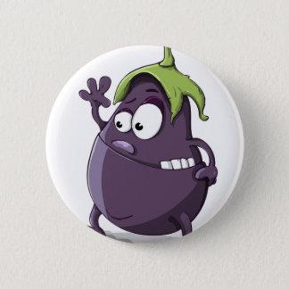 Eggplant Purple Vegetable Eyed Toothy Cartoon 6 Cm Round Badge