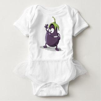 Eggplant Purple Vegetable Eyed Toothy Cartoon Baby Bodysuit