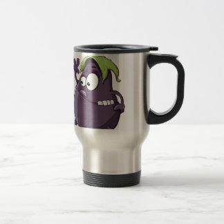 Eggplant Purple Vegetable Eyed Toothy Cartoon Travel Mug