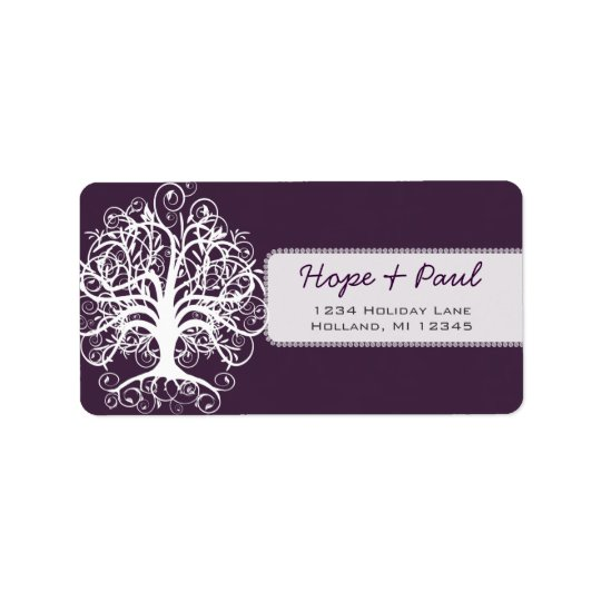 Eggplant Swirl Tree Return Address Label
