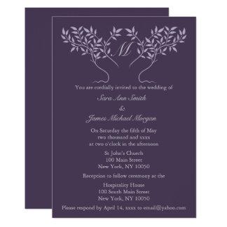 Eggplant Tree of Life Wedding Invitation