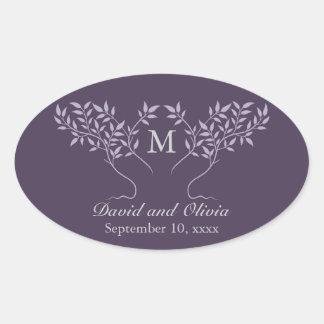 Eggplant Tree of Life Wedding Oval Sticker