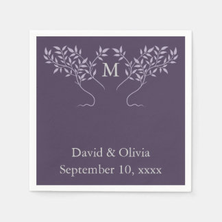 Eggplant Tree of Life Wedding Paper Napkins