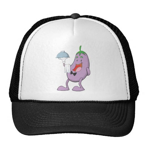 Eggplant Waiter Holding Serving Dish with Towel Hats