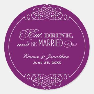 Eggplant Wedding Monogram | Eat Drink & Be Married Round Sticker