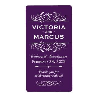 Eggplant Wedding Wine Bottle Monogram Favor Labels