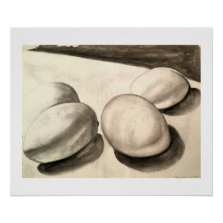 Eggs, a still life, in charcoal poster