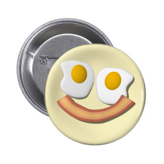Eggs and bacon smiley face . 6 cm round badge