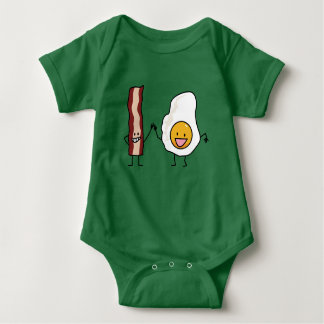 Eggs and Bacon Strips Combo Egg Breakfast Baby Bodysuit