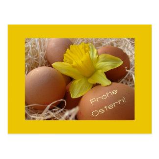 Eggs and daffodil easter greeting - german postcard
