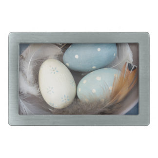 Eggs and feathers rectangular belt buckle